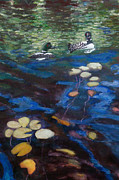 Lake Relections Prints - Loons and Lillies Print by Judy Kowalchuk