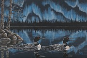 Loon Paintings - Loons Under Northern Lights by Ann  Kelly