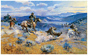 Fine American Art Framed Prints - Loops and Swift Horses are Suere than Lead Framed Print by Charles Marion Russell