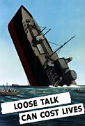 Lips Digital Art Posters - Loose Talk Can Cost Lives Poster by War Is Hell Store