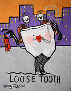 Canvas Mixed Media Metal Prints - Loose Tooth Metal Print by Anthony Falbo