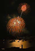 4th Of July Framed Prints - Lopez Island Fireworks 9 Framed Print by David Salter