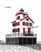 Lighthouse Drawings - Lorain Lighthouse by Frederic Kohli