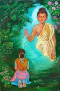 Praying Drawings Originals - Lord Buddha by Kalpana Talpade Ranadive