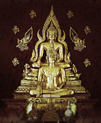 Travel Sculpture Posters - Lord Buddha Statue In Thai Temple Poster by Anan Kaewkhammul