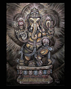 Religious Pastels Framed Prints - Lord Ganesh Framed Print by Dennis Jones