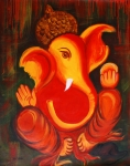 Ganesh Painting Posters - Lord Ganesh Ji Abstract II Poster by Riya Rathore