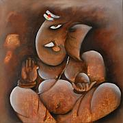 Ganapati Paintings - Lord Ganesha by Sonal Agrawal