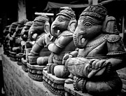 Black And White Photography Metal Prints - Lord Ganesha Metal Print by Abhishek Singh & illuminati visuals