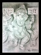 Religious Drawings Originals - Lord Ganesha by Achint Kaur