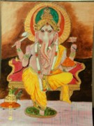 Ganapati Paintings - Lord Ganesha by K C Sahai