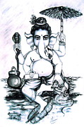 Lord Pastels - Lord Ganesha by Sri Mala