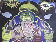 Wives Paintings - Lord Ganesha with Riddhi and Siddhi by Rameshwar Dhomne