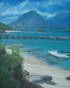 Howe Paintings - LORD HOWE ISLAND  jetty by Nigel Necklen