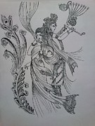 Religious Jewelry Prints - Lord Krishna Print by Aditya Sarawagi