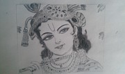 Lord Drawings Metal Prints - Lord Krishna Metal Print by Gnaneswari Giridharagopalan