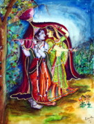 Love And Longing Framed Prints - lord radha krishna RAAS LEELA Framed Print by Kavita Sarawgi