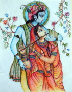 Youthful Painting Prints - Lord Radha Krishnas Divine Love Print by Kavita Sarawgi