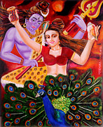 Goddess Parvati Painting Originals - Lord Shiva-Parvati dancing by Nirendra Sawan