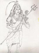Religious Drawings Originals - Lord Shiva The Destroyer of the Universe by Tanmay Singh