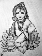 Lord Drawings Metal Prints - Lord Sri Krishna Metal Print by Indu Raghavan