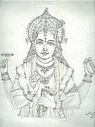 Lord Drawings Metal Prints - Lord Vishnu Metal Print by Archit Singh