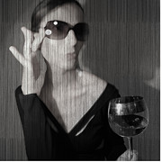 Sunglasses Digital Art - Loren with Wine by Irina  March