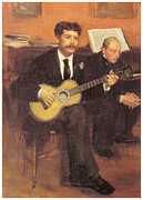Guitar Man Prints - Lorenzo Pagans and Auguste de Gas Print by Edgar Degas