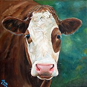 Calf Paintings - Loretta by Laura Carey