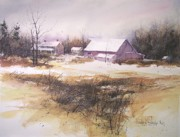 Snowscape Paintings - Lorettass Farm by Douglas W Trowbridge NWS