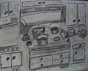 Oven Drawings Prints - Loris Kitchen Print by Spencer  Joyner