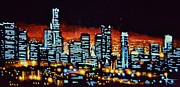 Los Angeles Skyline Paintings - Los Angelas by Black Light by Thomas Kolendra