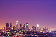 Los Angeles Skyline Framed Prints - Los Angeles At Dusk Framed Print by Dj Murdok Photos