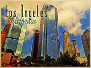 Los Angeles Skyline Digital Art Prints - Los Angeles California Skyline Print by Vintage Poster Designs