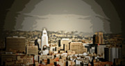 Hall Digital Art Prints - Los Angeles City Hall Print by Chris Brannen