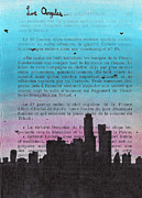 Mixed Media Drawings Posters - Los Angeles City Skyline Poster by Jera Sky