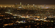 Los Angeles Skyline Framed Prints - Los Angeles  City View At Night  Framed Print by Bob Christopher