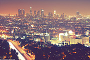 Los Angeles Skyline Framed Prints - Los Angeles Framed Print by Dj Murdok Photos