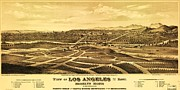 Los Angeles Drawings Posters - Los Angeles From The East Poster by Pg Reproductions