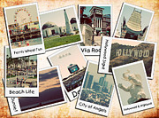 Mlb Art Prints - Los Angeles Polaroid Collage Print by Ricky Barnard