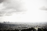 Griffith Prints - Los Angeles Skyline and Griffith Observatory Beneath Cloudy Sky Print by Sam Bloomberg-rissman
