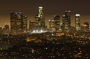 Los Angeles Skyline Framed Prints - Los Angeles Skyline At Night Framed Print by Bob Christopher