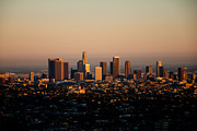 Los Angeles Skyline Metal Prints - Los Angeles Skyline at Sunset Metal Print by Heidi Reyher