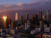 Los Angeles Skyline Digital Art Prints - Los Angeles Skyline Print by Byron Fli Walker