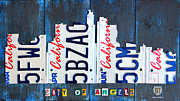 Los Angeles Mixed Media Metal Prints - Los Angeles Skyline License Plate Art Metal Print by Design Turnpike