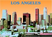 Los Angeles Digital Art Metal Prints - Los Angeles Skyline Metal Print by Michael Chatman