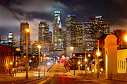 Los Angeles Skyline Framed Prints - Los Angeles Skyline NIGHT from the East Framed Print by Jon Holiday