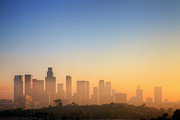 Los Angeles Skyline Framed Prints - Los Angeles Sunset Framed Print by Eric Lo