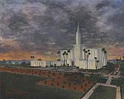 Tree Painting Prints - Los Angeles Temple Evening Print by Jeff Brimley