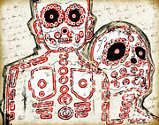 Tribe Drawings Prints - LOS MUERTOS Fine Art Illustration by Roly O Print by Roly D Orihuela